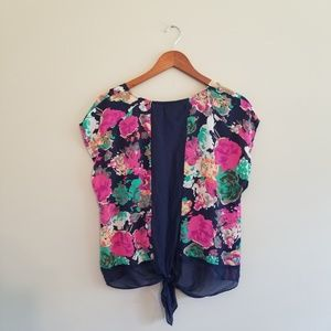Anthropologie Tops - Anthropologie Maeve Silk Floral Tie Back Blouse